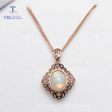 TBJ,Elegant natural opal silver pendant 7mm*9mm dazzling opal gemstone pendant solid 925 sterling silver opal necklace pendant(China)
