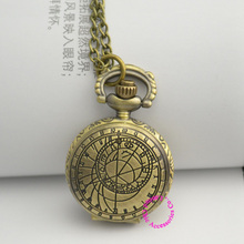 wholesale fashion girl woman lady bronze brass color zodiac vintage pocket watch doctor who dw necklace hour good quality(China)