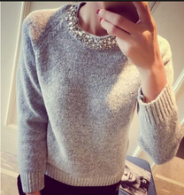 Loose Korean Knitted Women Sweater Beading O-Neck Solid Casual Slim Ladies Cashmere Sweater Pullover Spring Autumnn Winter 2017(China)