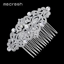 Mecresh European Design Floral Wedding Hair Accessories Silver Color Crystal Bridal Hair Comb Party Jewelry Christmas Gift FS066(China)