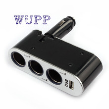 Auto 12V/24V 1 To 3 USB Power Supply In-Car Charger Adapter&Triple Cigarette Lighter Socket jan10