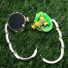 1 pcs Cute Gold Tone Green Frog Purse Folding Bag Hook Handbag Hanger Holder Hot gancho de cabideiro
