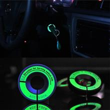 Vehemo LED Luminous Car Ignition Key Hole Ring Coil Switch Decor Sticker For Ford Chevrolet Mazda Toyota Honda