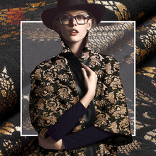 Free shipping American style black gold double jacquard fabric for coat dress medium thickness tissue tela tejido cloth SP2408
