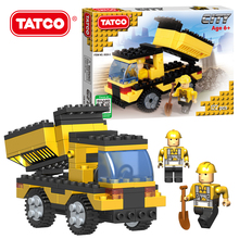 TATCO 122pcs Kids Educational City Series Toys Yellow Color Blocks Children's Transport Truck DIY Best Classic Building Blocks
