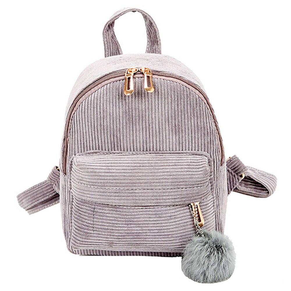 Women Vintage Boho Velvet Corduroy Backpack School Shoulder Bag Rucksack Handbag