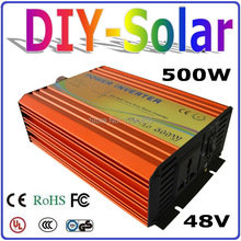 solar system 500W 48V inverter for home use solar system, high frequency pure sine wave output with 1000W Surge Power(China)