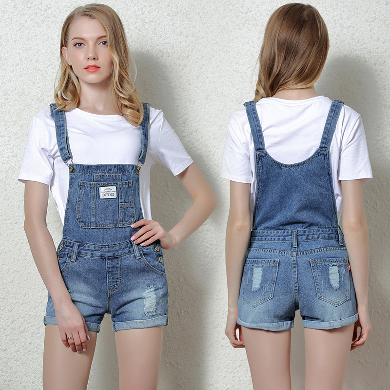ALICENO Schoolwear Flanging Wash Rompers Summer Overalls Women Playsuits Suspenders Shorts Jeans Ladys Overalls Summer Rompers