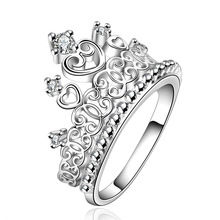 R629 Christmas lady special hot new high quality silver plated Crown wedding jewelry cute woman sparkling crystal Crowne ring