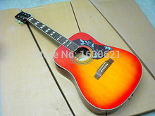 2017 New + Factory + Chibson hummingbird acoustic guitar, Cherryburst G Hummingbird electric acoustic guitar Sapele body