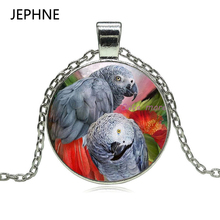 JEPHNE New Congo African Red Tail Grey Parrot Pendant Necklace Glass Cabochon Xmas Bird Gift Jewellery for Women(China)