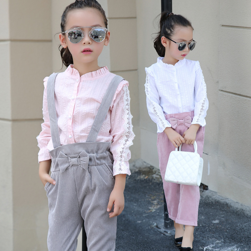 2017 Spring New Product Girl Small Child Lace Chiffon Nine Part Pants Seven Part Pants Suit 2 Pieces<br>