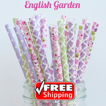 200pcs Mixed 4 Designs ENGLISH GARDEN Themed Paper Straws -Flowers, Dot, Damask, Purple, Pink, Green, Pretty, Whimsical, Vintage(China)