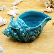 blue ceramic creative dolphin conch flowers vase pot home decor crafts room wedding decorations porcelain figurines vintage vase(China)