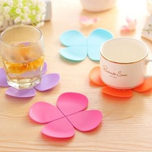 4pcs Table Cup Mat Cute Flower Shaped Silicone Cup Mat Pads Tea Dining Table Placemat Tea Coffee Drinks Coasters