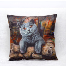 Vintage Decorative Home Cotton Linen Pillow Case Cover Living Room Bed Chair Seat Waist Throw Cushion Cat Pillowcases