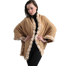 New Arrival Camel Women's 100% Wool Rabbit Fur Cape Classic Cashmere Pashmina Shawl Solid Color Stole Poncho Size 180 x 70cm