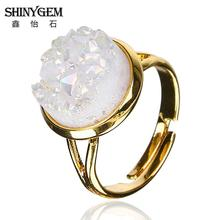 Natural Stone Druzy Ring 6 Colors for Option Geometric Shape Drusy Druzy Rings DRG154(China)