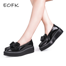 EOFK Women Platform Shoes Woman Patent Leather slip on Butterfly knot Casual Women's Low Bow Flat platform Shoes plateauschuhe