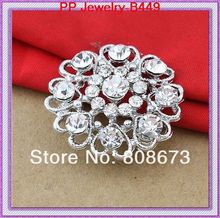 Silver Plated Lovely Alloy Heart Floral Party Pins Brooches Crystal Rhinestone Diamante Jewelry Wedding Cake Pins(China)