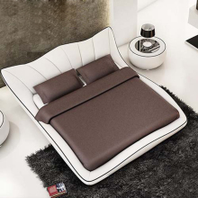 2017 white color genuine top grain leather soft double bed