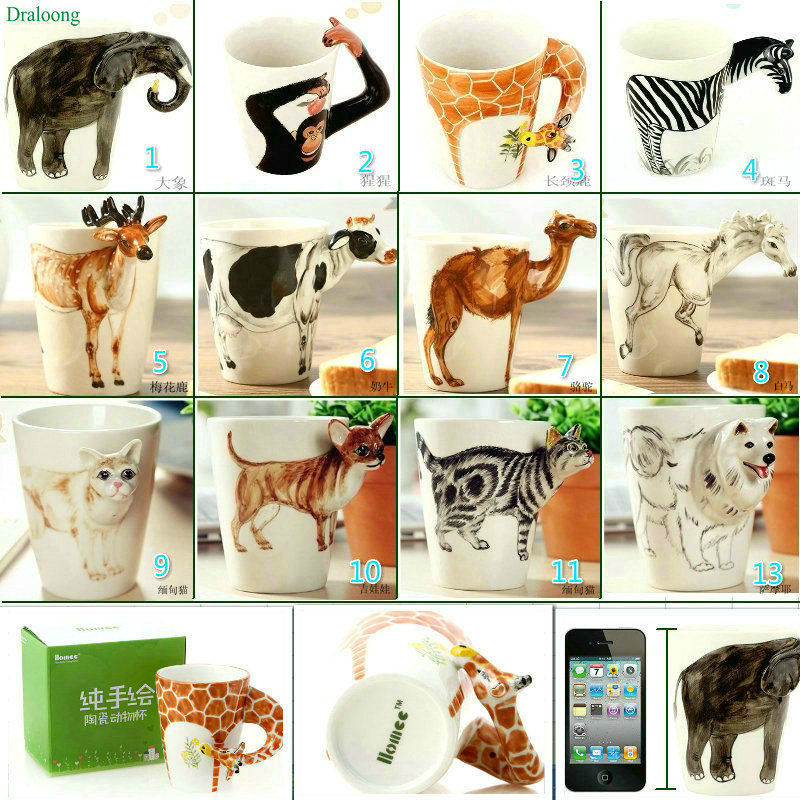 New arrival Creative gift Ceramic coffee milk tea mug 3D animal shape Hand painted animals Giraffe Cow Monkey cup(China)