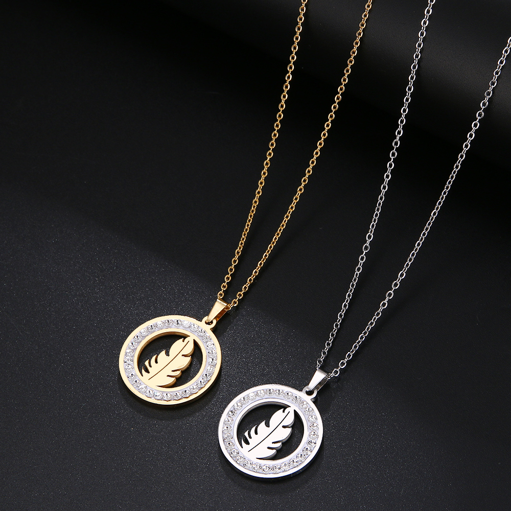 Cacana Stainless Steel Crystal Round Pendants Necklace Women Jewelry Feather Trendy Necklaces Donot Fade Valentine's Day Gift (6)