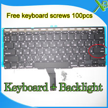 "Brand New Small Enter RS Russian keyboard+Backlight Backlit+100pcs keyboard screws For MacBook Air 11.6"" A1370 A1465 2010-15Year(China)"