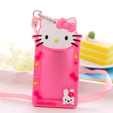1pcs New Arrival Cartoon Hello Kitty ID Business Name Card Badge Holder With Neck Lanyard Office School Company Supplies