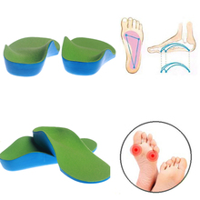 1 Pair 14cm-24CM Kids Orthotic Arch Support XO Flatfoot Correctors Feet Massage Soft Sport Shoe Insoles Pad Child Foot Care(China)