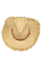 FS Hot Mens Womens Unisex Feathered Edge Natural Straw Cowboy Sun Hat Cap