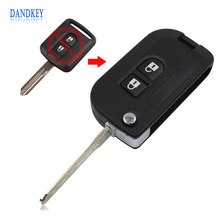 Dandkey Flip Folding Remote Key Shell Car Case Fob Cover For Qashqai Nissan Micra Navara Almera Note 2 Buttons With Sticker