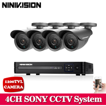NINIVISION 4CH CCTV System 1080P HDMI AHD CCTV DVR 4PCS SONY 1200TVL 720P IR Outdoor Security Camera Surveillance System(China)