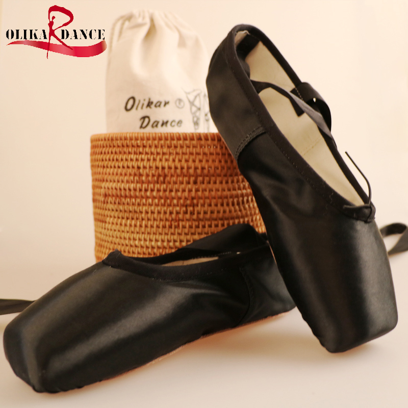 New Black Ballet Dance Toe Shoes Professional Kids Satin Pointe Shoes with free shoe bag and Gel Toe Pads Kids Dancing Shoes<br>