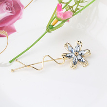 1PC New Wave Pattern Flower Rhinestones Hair Pin Spring Barrette Hairpins Wave Crooked Hair Clip Hair Accessories
