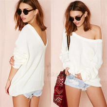 Europe and the explosion of sweater collar Strapless loose knitted pullovers back deep V color sweater 1237