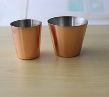Vodka Steel Mini Shot Glasses with logo,tumbler tea cup Portable Stainless Steel Shot Glasses With Leather Case,copper pint cup