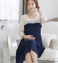 2015 New Summer Plus Size XL Elegant 3D Embroidered Lace/Chiffon Maternity Casual Dress Pregnant Clothes/Wear to Pregnancy Women