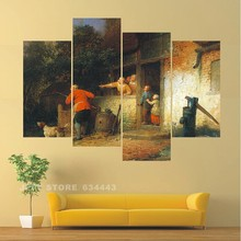Cuadros Abstractos Texturados Home Decorative Wall Painting 4 Group Villager Art Picture Paint On Canvas Prints For Living Room(China)