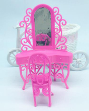 Pink Kid Play Toys Girls Birthday Gift Doll Accessory Dresser Girl's dreaming fancy Dressing Table Bedroom Miniature Furniture(China)