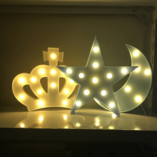 Decorative Letters Light Star Cloud Crown Shape LED Plastic Moon 2xAA Battery LED Marquee Sign for Home Christmas Decoration