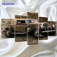 5 piece canvas art Classic Car Still life Retro nostalgic abstract Canvas painting Wall Art For Home Decor Wall Artwork Gift(China)