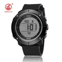 New OHSEN fashion black electronic digital sport Wristwatch men male silicone strap waterproof diving watches relogio masculino(China)
