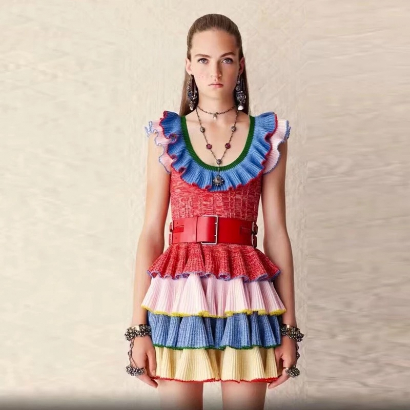 Ecombird 2017 Spring Summer Runway Designer Knitted Dress Fashion Women butterfly Sleeve Rainbow Striped Ruffles Mini DressesÎäåæäà è àêñåññóàðû<br><br>