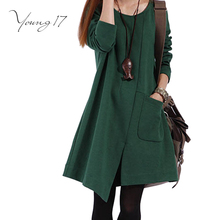 Young17 2017 Women Dress Elegant solid Green Black casual Women Dress Knee Length Mori Girl Party Dress Long Sleeve pocket
