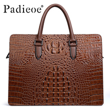 Padieoe 2017 Luxury Alligator Design Men's Briefcase Genuine Cow Leather Men's Bag Business Casual Laptop Notebook Bag Handbags(China)