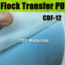 CDF-12 Light blue Flocking Heat Transfer Vinyl Film 13 Colors for Choosing with size:50*100cm/lot