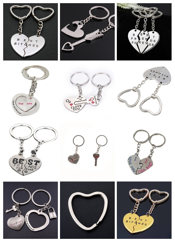 Heart Key Ring Lovers Key Chain 1 Pair Couple Valentine