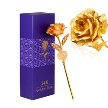 25CM Valentine's Day 24k Gold Foil Rose Flower Handcrafted Handmade Dipped Long Stem Lovers Wedding Gift Purple Box T35