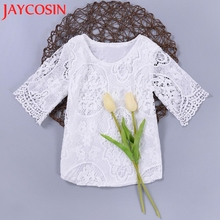 T-Shirts Hot 2017 1PCShirt Newly Designed Lovely Comfortable Girl Short Sleeve Lace Flower T-shirt Tops Outfits Clothes Dropship(China)